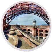 Old Fort Point Lighthouse Under The Golden Gate Round Beach Towel
