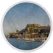 Round Beach Towel featuring the photograph Corfu, Greece - Old Fortress North by Mark Forte