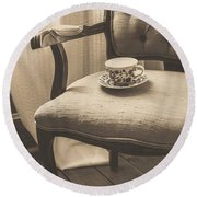 Old Friend China Tea Up On Chair Round Beach Towel by Edward Fielding