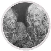 Old Friends, Smokin' And Jokin' Round Beach Towel by Quwatha Valentine