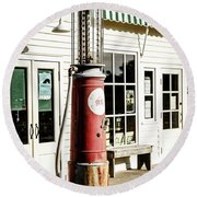 Round Beach Towel featuring the photograph Old Fuel Pump by Alexey Stiop