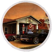 Old Gas Station American Muscle Round Beach Towel
