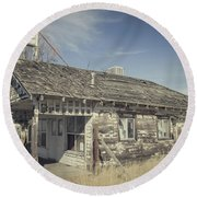 Old Gas Station Round Beach Towel by Robert Bales