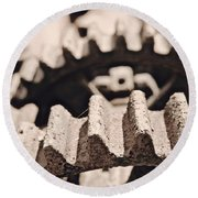 Old Gears Round Beach Towel by Tim Good