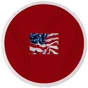 Old Glory  1 Round Beach Towel