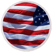 Round Beach Towel featuring the photograph Stitches Old Glory American Flag Art by Reid Callaway