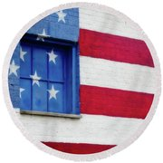 Old Glory, American Flag Mural, Street Art Round Beach Towel