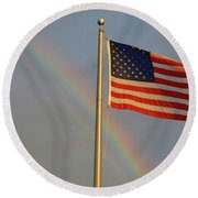 Old Glory And Rainbow Round Beach Towel