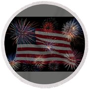 Round Beach Towel featuring the photograph Old Glory by Norman Peay