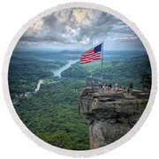 Old Glory On The Rock Round Beach Towel