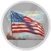 Old Glory Vi Round Beach Towel