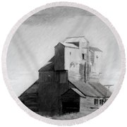 Old Grain Elevator Round Beach Towel