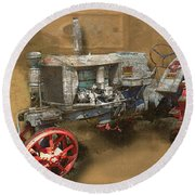 Old Grey Tractor Round Beach Towel