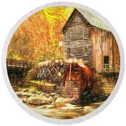 Old Grist Mill Round Beach Towel