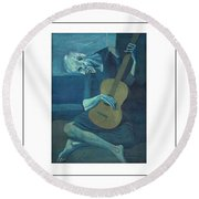 Old Guitarist Round Beach Towel