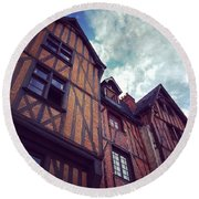 Old Half-timbered Houses In Tours, France Round Beach Towel