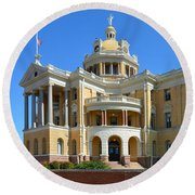 Old Harrison County Courthouse Round Beach Towel