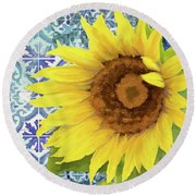 Round Beach Towel featuring the painting Old Havana Sunflower - Cobalt Blue Tile Painted Over Wood by Audrey Jeanne Roberts