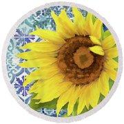 Old Havana Sunflower - Cobalt Blue Tile Painted Over Wood Round Beach Towel