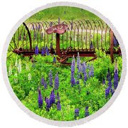Old Hay Rake And Lupines Round Beach Towel