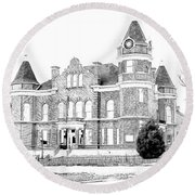 Round Beach Towel featuring the digital art Old Hickman Ky Court House Digital Drawing  by Bonnie Willis