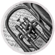 Old Horn And Sheet Music Round Beach Towel