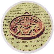 Old Horoscope Of Gemini Round Beach Towel