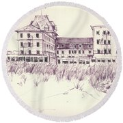 Old Hotel Round Beach Towel