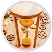 Old Hourglass Near Clock Gears On Old Map Round Beach Towel