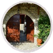 Old House Door Round Beach Towel by Nuri Osmani