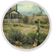 Round Beach Towel featuring the photograph Old House Near Mountians by Jill Battaglia