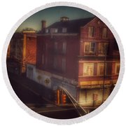 Round Beach Towel featuring the photograph Old House On The Corner by Miriam Danar