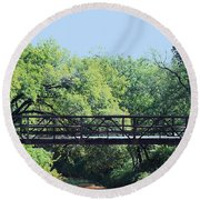 Old Iron Bridge Over Caddo Creek Round Beach Towel by Sheila Brown