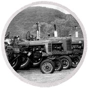 Round Beach Towel featuring the photograph Old Iron by Rick Morgan