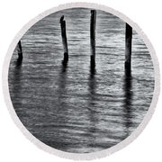 Round Beach Towel featuring the photograph Old Jetty - S by Werner Padarin