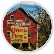 Old Kirby's Flower Mill Round Beach Towel