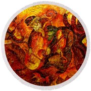 Old Klezmer Band Round Beach Towel