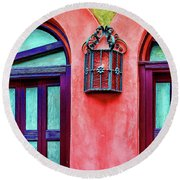 Round Beach Towel featuring the photograph Old Lamp Between Windows by Gary Slawsky