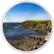 Round Beach Towel featuring the photograph Old Life Boat Station by Brian Roscorla