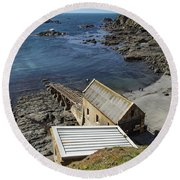 Round Beach Towel featuring the photograph Old Lifeboat Station by Brian Roscorla
