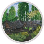 Round Beach Towel featuring the painting Old Log Cabin And   Memories by Sharon Duguay