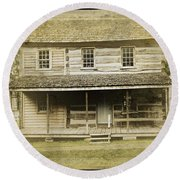 Round Beach Towel featuring the photograph Old Log Cabin by Joan Reese