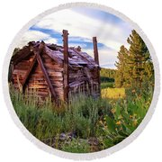 Old Lumber Mill Cabin Round Beach Towel by James Eddy