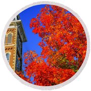 Old Main Maple Round Beach Towel by Damon Shaw