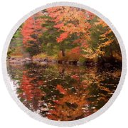 Round Beach Towel featuring the photograph Old Main Road Stream by Jeff Folger