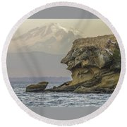 Old Man And The Mountain Round Beach Towel