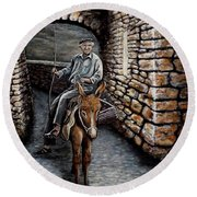 Old Man On A Donkey Round Beach Towel by Judy Kirouac