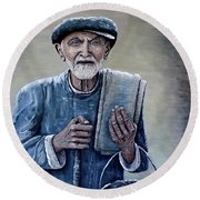 Old Man With His Stones Round Beach Towel by Judy Kirouac