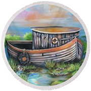 Old Mans Boat Round Beach Towel