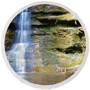 Old Man's Cave Waterfall Round Beach Towel